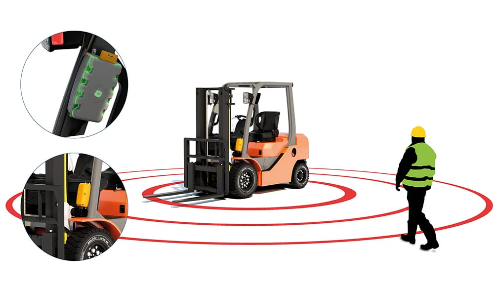 ZoneSafe Person To Vehicle Alert Fitted onto Forklift Truck