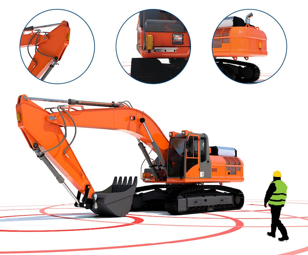 Excavator on construction site with Zonesafe proximity warning alert system
