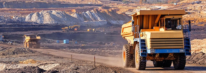 Mining truck with ZoneSafe vehicle detection proximity warning system