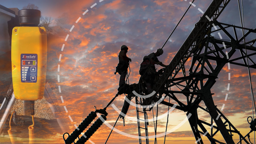 zonesafe-drop-zone-image-and-sillouette-of-workers-on-pylon-with-sunset-in-background